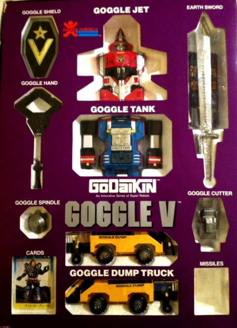 Goggle V GoDaiKin 1984 aka Goggle Five Cross In Box DX GB-70 Popy 1982 Japan from Dai Sentai Goggle V 1982-1983 insert other names 大戦隊ゴーグルファイブ Dai Sentai Gōguru Faibu, or Great Squadron Goggle Five