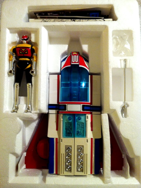 Machine Dolphin GoDaiKin 1984 by Bandai aka Machine Man PC-43 from live action show Seiun Kamen Machineman 1984 styrofoam insert other names 星雲仮面マシンマン Seiun Kamen Mashinman, or Nebula Mask Machineman