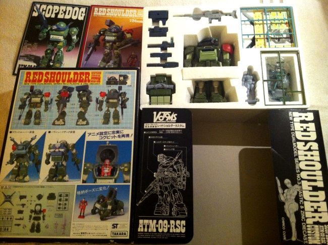 Red Shoulder Scopedog ATM-09-RSC 1/24 scale Takara 1983 from anime Armored Trooper VOTOMS 1983-1984 instructions and styrofoam Soukou Kihei VOTOMS