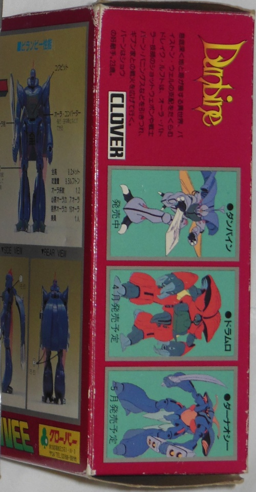 Aura Battler Virunvee Clover 1-58 side box cover from anime Holy Warrior Dunbine 1983-1984 Seisenshi Dunbine(聖戦士ダンバイン)
