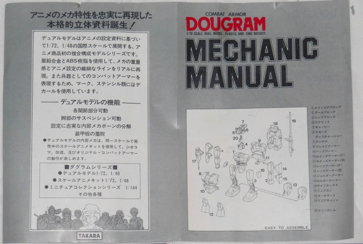 Combat Armor Dougram Series-01 Mechanic Manual Takara 1984 1/72 scale from anime tv show Taiyou no Kiba Dougram 1981-1983