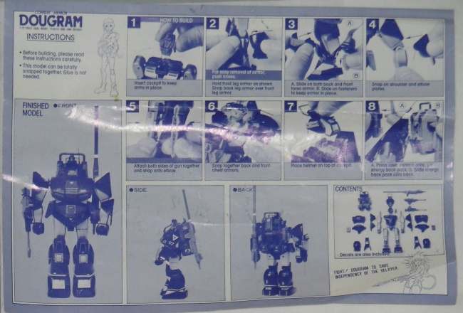 Combat Armor Dougram Instructions Takara 1984 1/72 scale from anime tv show Taiyou no Kiba Dougram 1981-1983 Choro Q Dougram