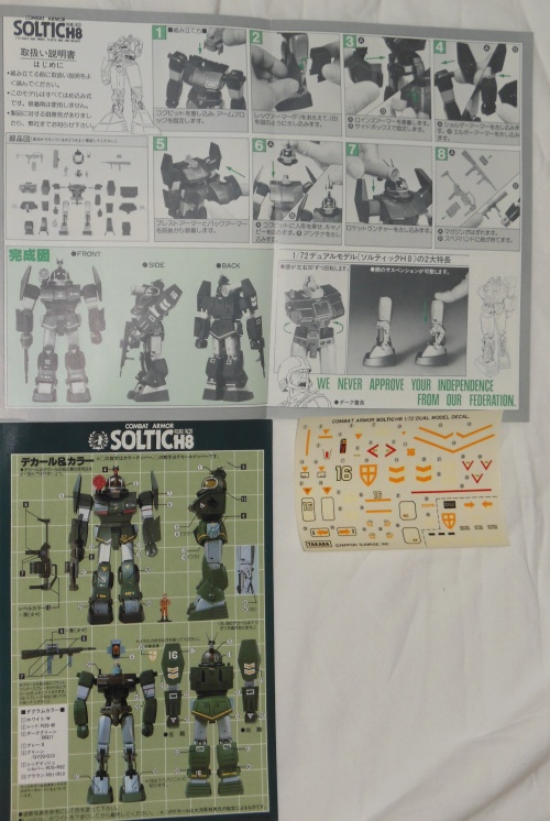 Soltic H8 Round Facer  instructions and decals Series-02 1/72 scale Takara 1981 Japan from anime tv show Taiyou no Kiba Dougram 1981-1983  other names Document Taiyou no Kiba Dougram, Choro Q Dougram,太陽の牙ダグラム