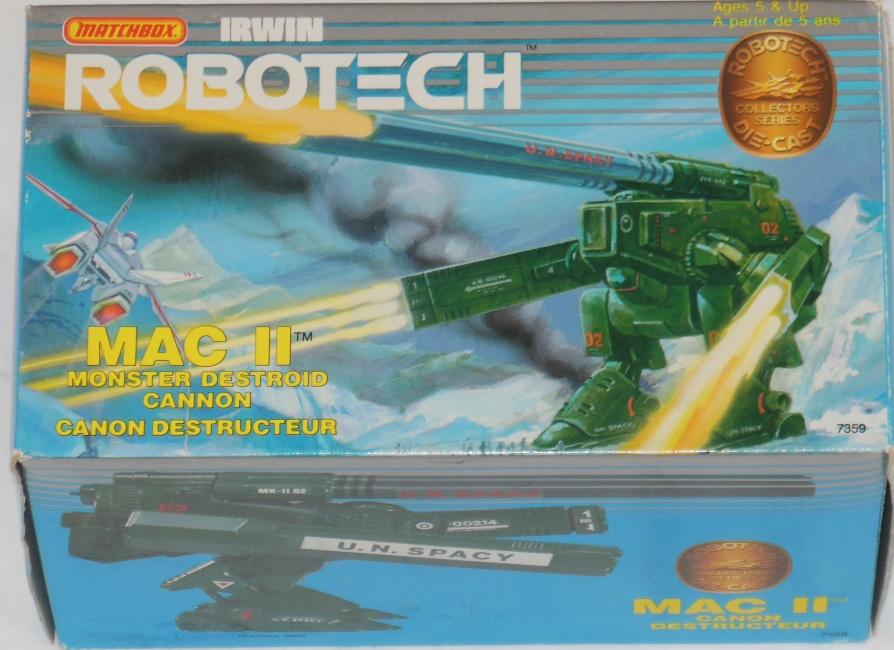 Matchbox Robotech Mac II Monster Destroid Cannon Front box cover  from anime Super Dimension Fortress Macross 1982-1983 超時空要塞マクロス