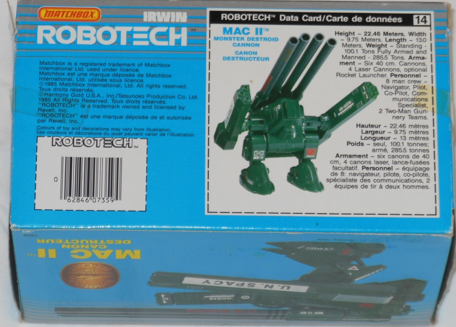 Matchbox Robotech Mac II Monster Destroid Cannon back cover from Robotech: The Macross Saga 1985