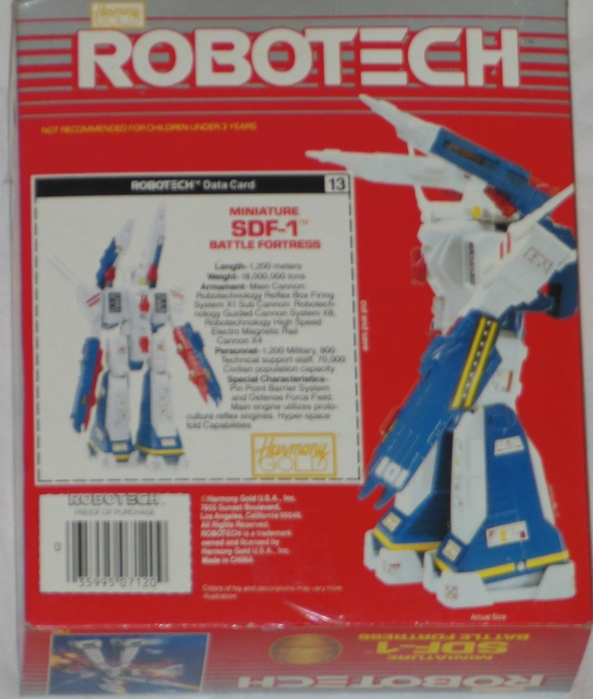 Robotech Miniature SDF-1 Battle Fortress by Harmony Gold ST back box cover from anime Super Dimension Fortress Macross 1982-1983 other names Cho Jiku Yosai Macross, Guerra das Galáxias, Fortezza Super Dimensionale, 超時空要塞マクロス, 초시공요새 마크로스