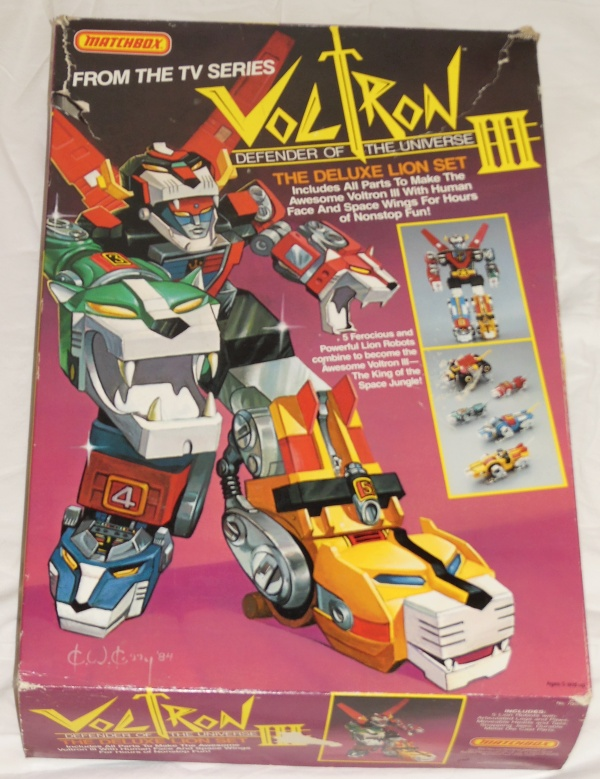 Matchbox Voltron III The Deluxe Lion Set front box cover from the anime Voltron: Defender of the Universe tv show from 1984-1985 other names Beast King GoLion, Hundred-Beast King Go Lion, Hyakujū Ō Golion, King of Beasts Golion, Lion Force Voltron, Voltron of the Far Universe, Voltron, difensore dell'universo, Voltron, el defensor del universo, 百獣王ゴライオン