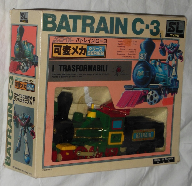 Batrain C-3 SL Type Takatoku aka Sasuraiger 1984 front box cover from anime tv show Galactic Whirlwind Sasuraiger 1983-1984 other names Ginga Shippū Sasuraiger, Wonder Six, 銀河疾風サスライガー
