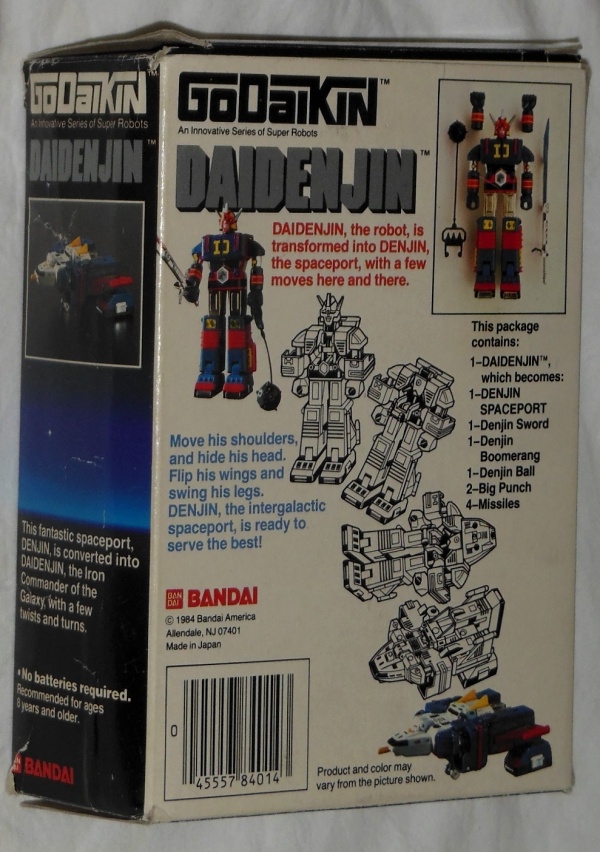 Daidenjin GoDaiKin Bandai 1984 aka GB14 Daidenjin DX Popy Japan 1980 from the live action show Denshi Sentai Denziman 1980-1981 back box cover