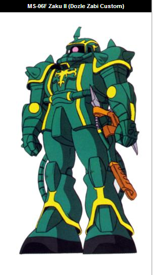 This is the MS-06F Zaku II piloted by Dozle Zabi  (ドズル・ザビ Dozuru Zabi). He is the third son of Degwin Sodo Zabi and the commander of the Principality of Zeon's Space Attack Force in the anime series Kidō Senshi Gundam (機動戦士ガンダム) aka Mobile Suit Gundam, First Gundam, Il ritorno di Gundam, Los Guerreros Moviles Gundam, Mobile Soldier Gundam, Mobile Suit Gundam 0079, ファーストガンダム