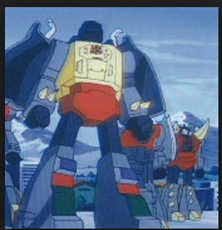 "Grimlock Transformers G1 Autobot Dinobots 1985 cartoon still Generation 1 Foreign names Japanese- Grimlock (グリムロック Gurimurokku), French- La Menace (The Threat), Italian- Tiran, Korean- Grimlock (그림록 Geurimnok), Mandarin- Gāng Sǔo (鋼鎖, Steel Lock), Sz Sǔo (死鎖, Dead Lock), Portuguese- Trancoso, Grunhido (""Grunt""), Implacável (Cutthroat), Spanish Ferozaurio"