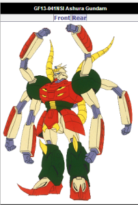 Ashura G Gundam still GF13-041NSI piloted by Russets Daggats of Neo Singapore. From anime Mobile Fighter G Gundam(機動武闘伝Gガンダム Kidō Butōden Jī Gandamu) 1994-1995