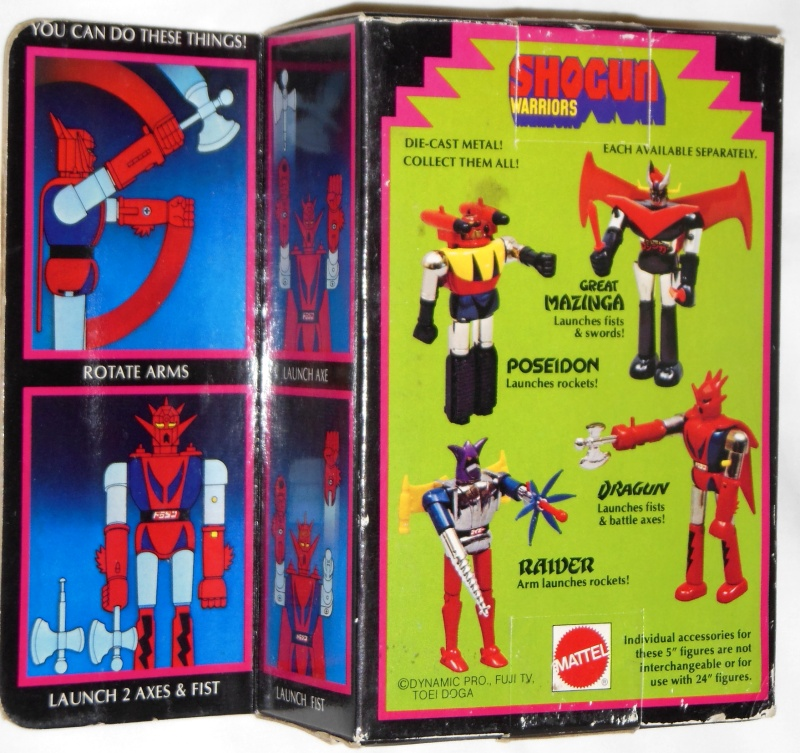 Dragun Shogun Warriors Mattel 1979 originally GA-10 Getter Robo Popy 1975 from anime tv show Getta Robo G 1975-1976 back box cover