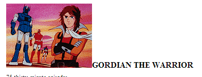 Gordian Warrior still from the intro. The anime ran from 1979 -1981.