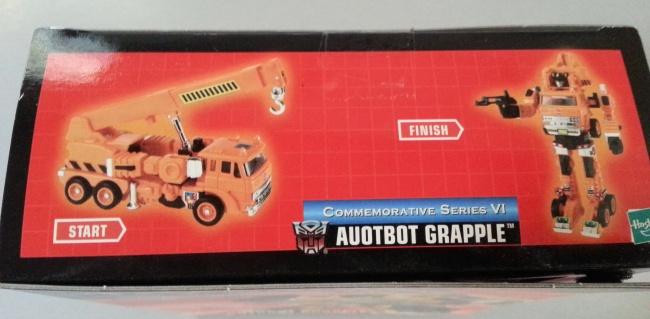 Autobot Grapple Transformers Commemorative Series VI 2004 G1 side of box Foreign names Japanese- Grapple (グラップル Gurappuru), French- Grappin (Canada), Italian: Gancio, Portuguese- Lutador or Chave