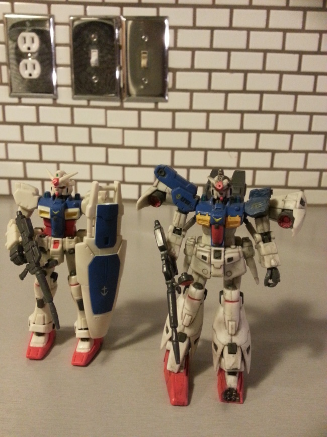 RX-78-02 and Battle Scarred RX-78GP01Fb from anime Mobile Suit Gundam 0083: Stardust Memory(機動戦士ガンダム0083 STARDUST MEMORY, Kidō Senshi Gandamu 0083 Stardust Memory) 1991-1992