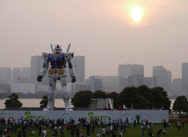 Life Size Gundam Statue RX-78-2 1/1 scale in Japan in the Odaiba Mall next to the Gundam Cafe/Museum