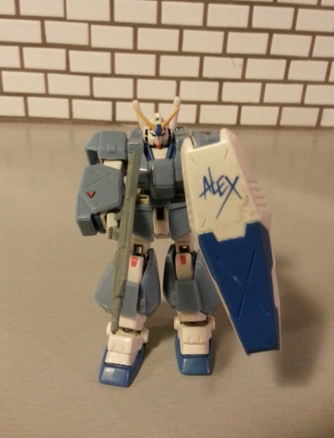 "RX-78NT-1 (RX-78NT-1FA for full armor type) Alex Gundam 1999 Bandai America from anime Mobile Suit Gundam 0080: War in the Pocket (RX-78NT-1 ガンダム「アレックス」 RX-78NT-1 Gandamu Arekkusu, ""Alex"" being an acronym for ""Armored Layers EXperimental"")"