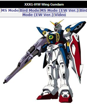 Wing Gundam animated still XXXG-01W from anime Mobile Suit Gundam Wing Endless Waltz(新機動戦記ガンダムW: Endless Waltz - Shin Kidou Senki Gundam Wing Endless Waltz or 新新機動戰記鋼彈W 無盡的華爾滋) 1997