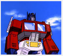 optimusprime cartoon still from the Transformers Generation 1 cartoon series from 1984-1987