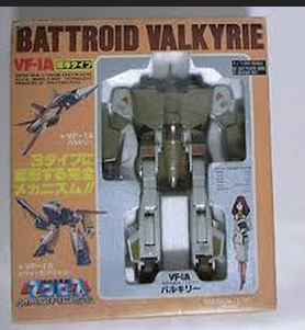 "Macross VF-1A Standard Type Battroid Valkyrie(超時空要塞マクロス 1/55 VF-1A標準タイプ バトロイドバルキリー) DX 1/55 scale 12"" Takatoku Toys(タカトクトイス) 1983 Cannon Fodder Japan from anime Super Dimension Fortress Macross(超時空要塞マクロス, Chōjikū Yōsai Makurosu) 1983-1984"