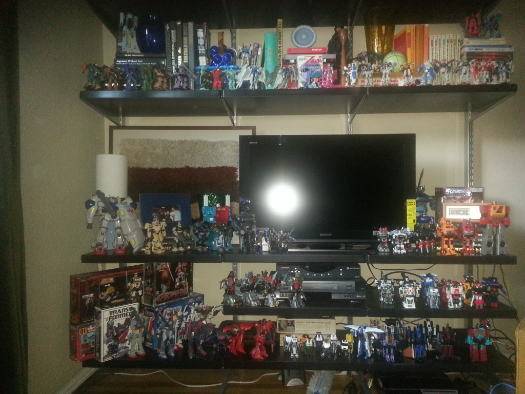 Robot Collection - Gundam and Transformers on my TV stand