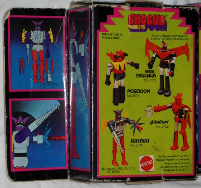 Raider Shogun Warriors Mattel GA-11 Getta Raiga Popy rear box from the anime Getter Robo G from 1975-1976