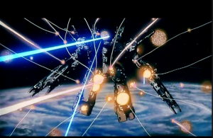 SDF-1 in action from Super Dimension Fortress Macross anime still (超時空要塞マクロス, Chōjikū Yōsai Makurosu)