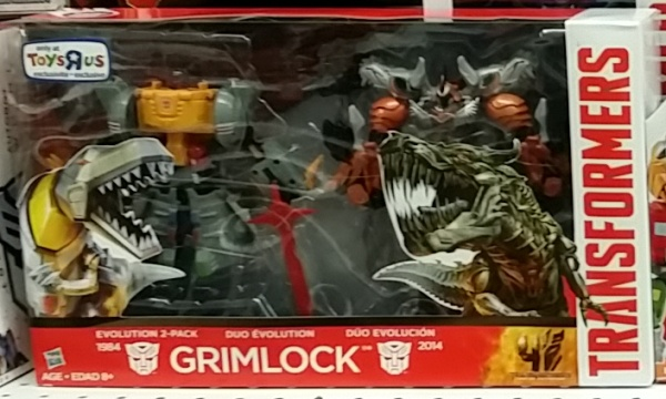 "Transformers Grimlock Age of Extinction Evolution 2-Pack 1984 Generation 1 version and 2014 front box cover Foreign names-Japanese(グリムロック Gurimurokku), French La Menace, Italian: Tiran, Drago, Korean (그림록 Geurimnok), Mandarin Gāng Sǔo (鋼鎖, ""Steel Lock""), Portuguese Trancoso, Grunhido, Implacável, Spanish: Ferozaurio"