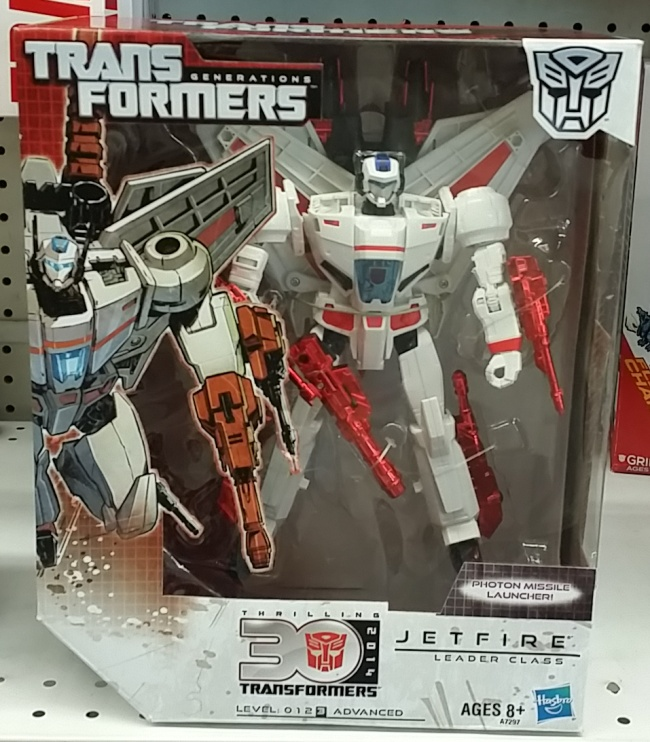 "Jetfire Transformers Generations Autobot 2014 Leader Class Skyfire 30th Anniversary. Jetfire aka Skyfire (スカイファイアー Sukaifaiā) and Jetfire (G-2, ジェットファイヤー Jettofaiyā) in Japan, Tin Fo (Hong Kong, 天火, ""Sky Fire"") Cantonese and Tīen Hǔo (Taiwan, 天火, ""Sky Fire"")Mandarin in China, Bolide (Canada, ""Meteor""), Aquila (""Eagle"") Italy, and Jacto (Portugal, ""Jet"")."