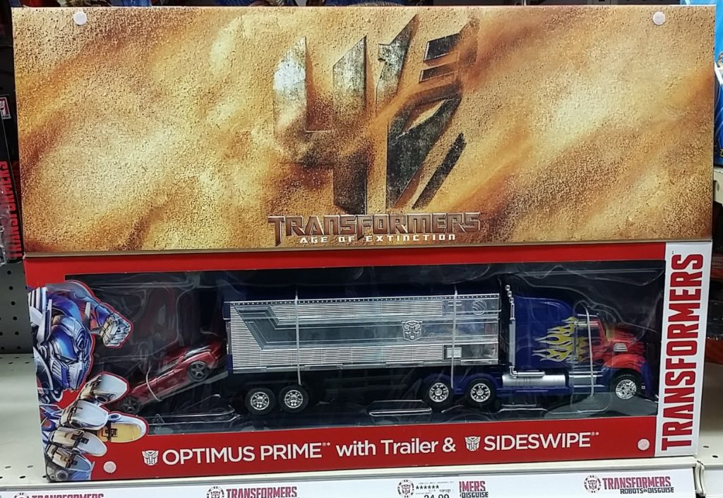 Age of Extinction Platinum Optimus Prime With Trailer & Sideswipe 2014 box flap up