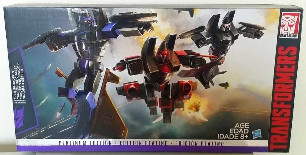 Transformers Platinum Edition Seeker Squadron 3-Pack 2015 by Hasbro includes Thrust, Ramjet, and Dirge front of box