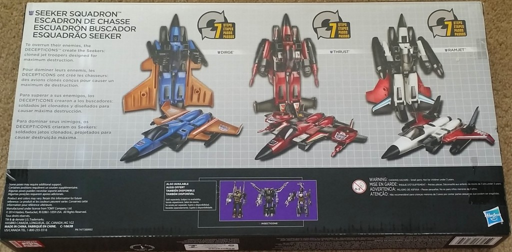Transformers Platinum Edition Seeker Squadron 3-Pack 2015 by Hasbro includes Thrust, Ramjet, and Dirge back of box