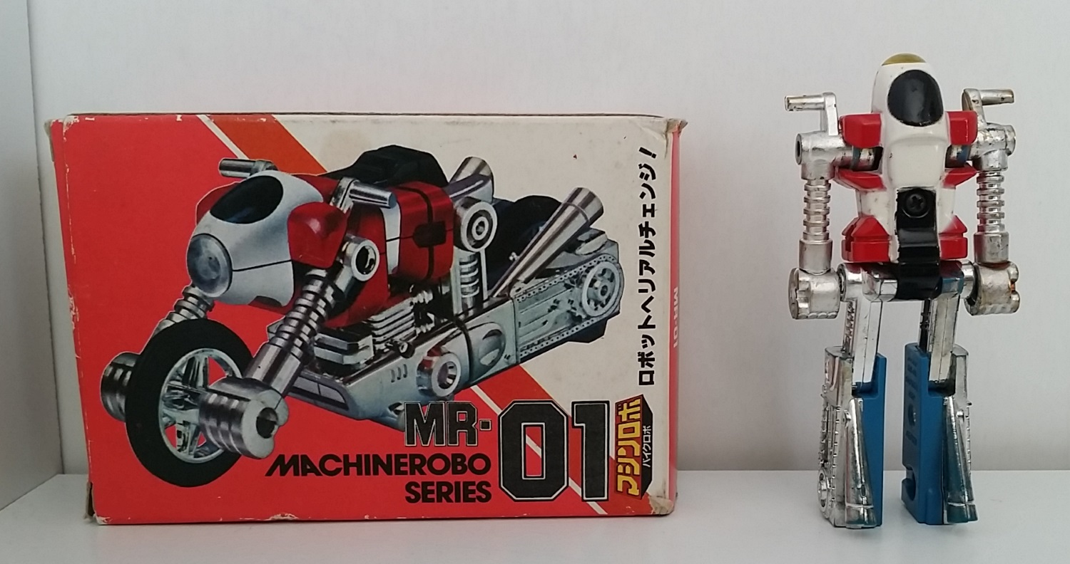 Machine Robo(マシンロボ) MachineRobo MR-01 Bike Robo made in 1982 by Popy in Japan from anime Machine Robo Revenge of Cronos 1988-1989 and Challenge of the Gobots 1983-1987 known as Cy-Kill - box robot back - from anime Machine Robo Revenge of Cronos(Chronos no Gyakushuu マシンロボ クロノスの大逆襲) 1988-1989 and Challenge of the Gobots 1983-1987 La Revanche des Gobots in France