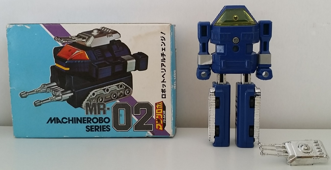 MachineRobo MR-02 Tank Battle Robo 1982 Popy Bandai Machine Men box robot back from anime Machine Robo Revenge of Cronos(Chronos no Gyakushuu マシンロボ クロノスの大逆襲) 1988-1989 and Challenge of the Gobots 1983-1987 aka Tank, La Revanche des Gobots in France