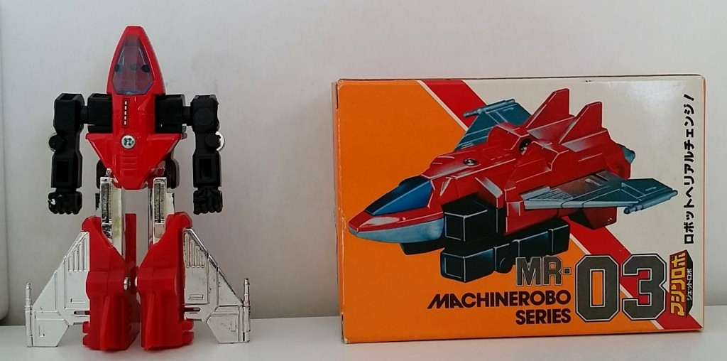MachineRobo(マシンロボ) MR-03 Jet Robo(ブルー・ジェット) 1982 Popy Bandai Machine Men back of robot and box from anime Machine Robo Revenge of Cronos 1988-1989 and Challenge of the Gobots 1983-1987 known as Fitor