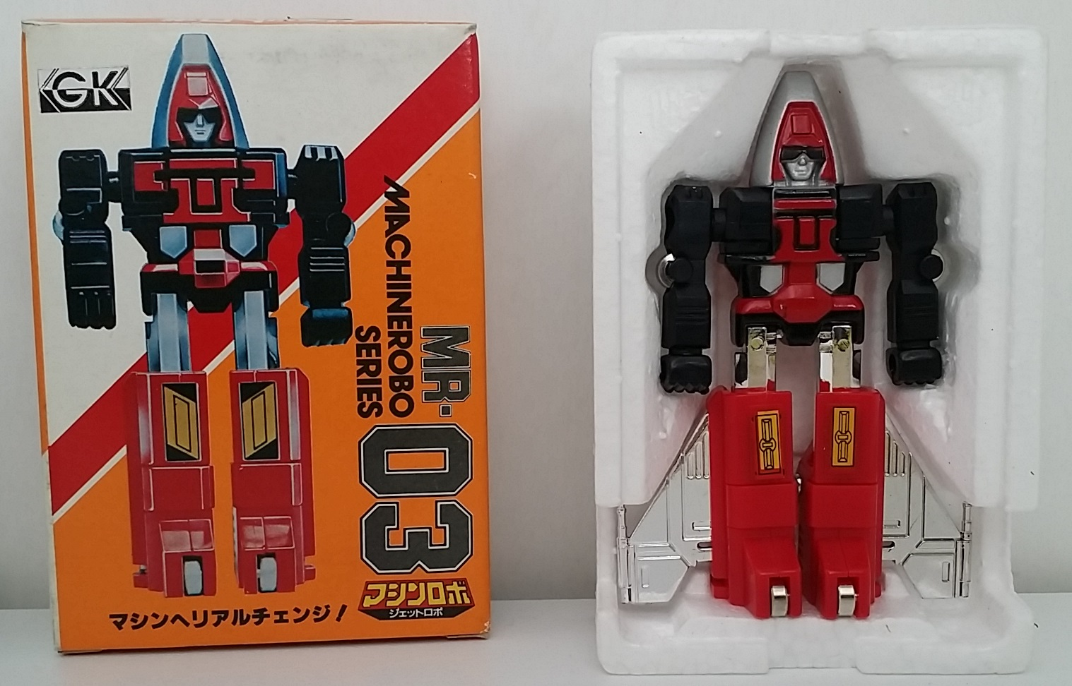 (マシンロボ) MachineRobo MR-03 Jet Robo(ブルー・ジェット) 1982 Popy Bandai Machine Men robot styrofoam and box from anime Machine Robo Revenge of Cronos(Chronos no Gyakushuu マシンロボ クロノスの大逆襲) 1988-1989 and Challenge of the Gobots 1983-1987 known as Fitor