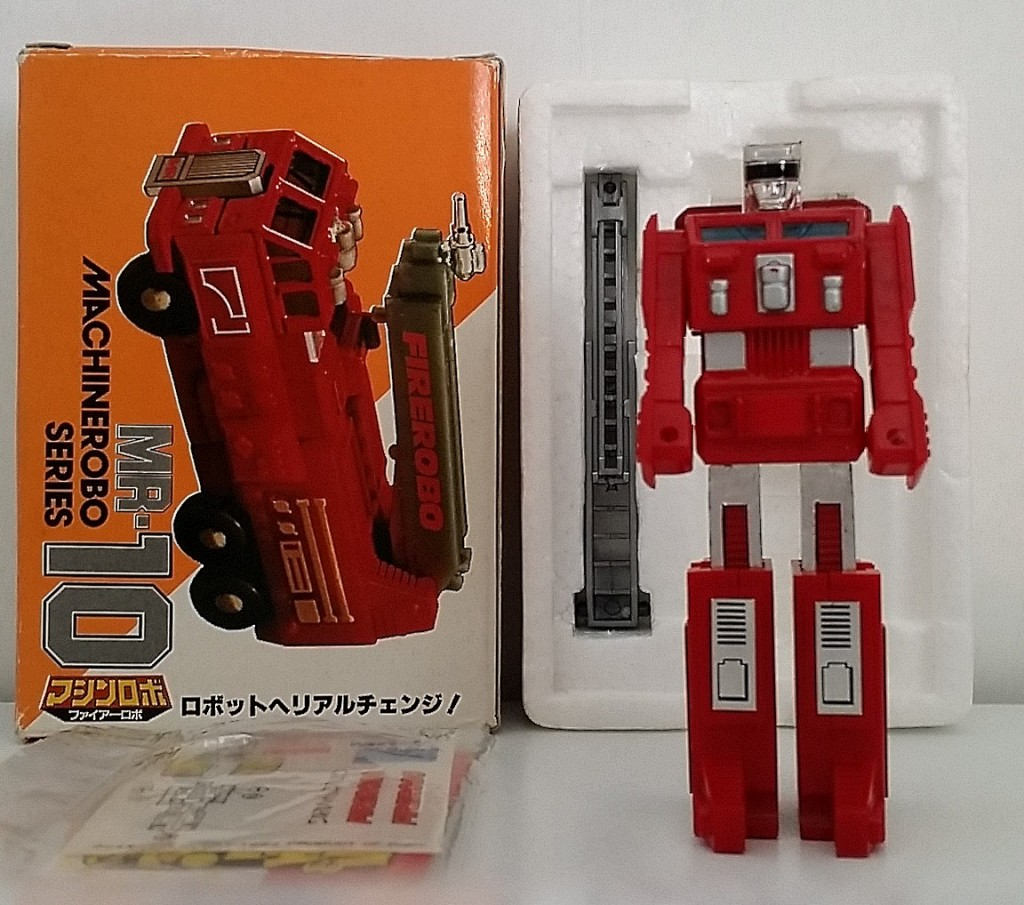 MachineRobo(マシンロボ) MR-10 Fire Robo (ファイヤーロボ) 1982 Popy Bandai robot front Machine Men from anime Machine Robo Revenge of Cronos(Chronos no Gyakushuu マシンロボ クロノスの大逆襲) 1988-1989 and Challenge of the Gobots 1983-1987 aka Pumper