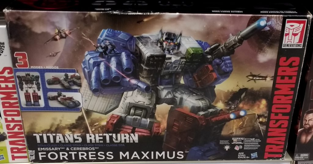 Transformers Fortress Maximus Generations Hasbro 2017 with Emissary and Cerebros Titan Class Autobot front of box
